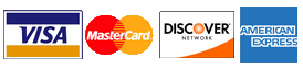 We accept Visa, MasterCard, Discover, and American Express.